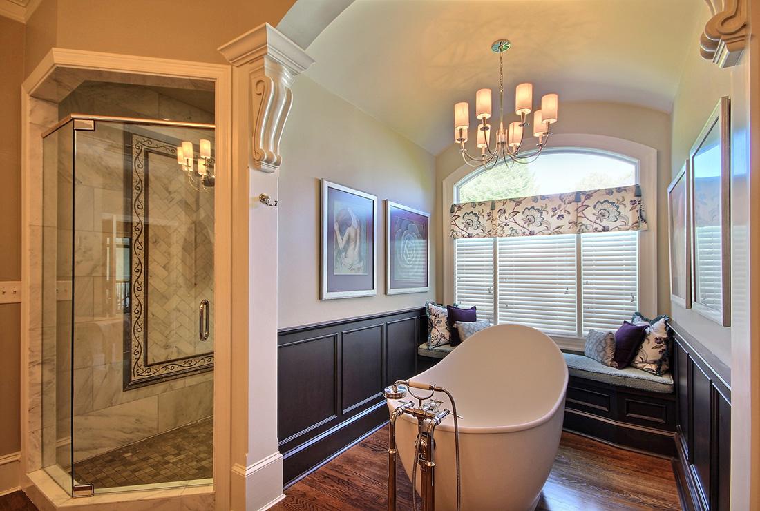 Elegant Dark Wood Master Bath Remodeling